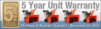 Ariens 5 Year Warranty Promo - Purchase Between September 1 - October 31st, 2014