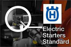 Husqvarna Electric Starters standard on all snow blowers