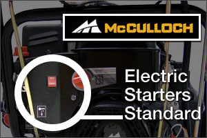 McCulloch Electric Starters standard on all snow blowers