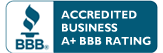 Better Business Bureau Accredited Business A plus rating